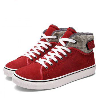 Autumn and Winter Plus Velvet High To Help Casual Men'S Shoes - RED 44