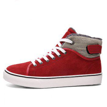 Autumn and Winter Plus Velvet High To Help Casual Men'S Shoes - RED 40