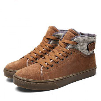 Autumn and Winter Plus Velvet High To Help Casual Men'S Shoes - BROWN BROWN