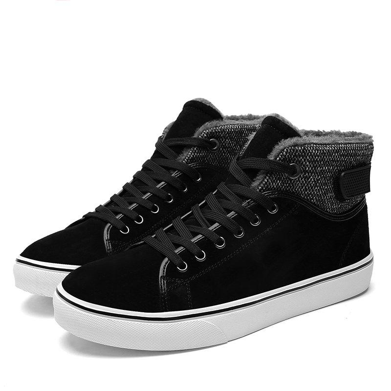 Autumn and Winter Plus Velvet High To Help Casual Men'S Shoes - BLACK 39