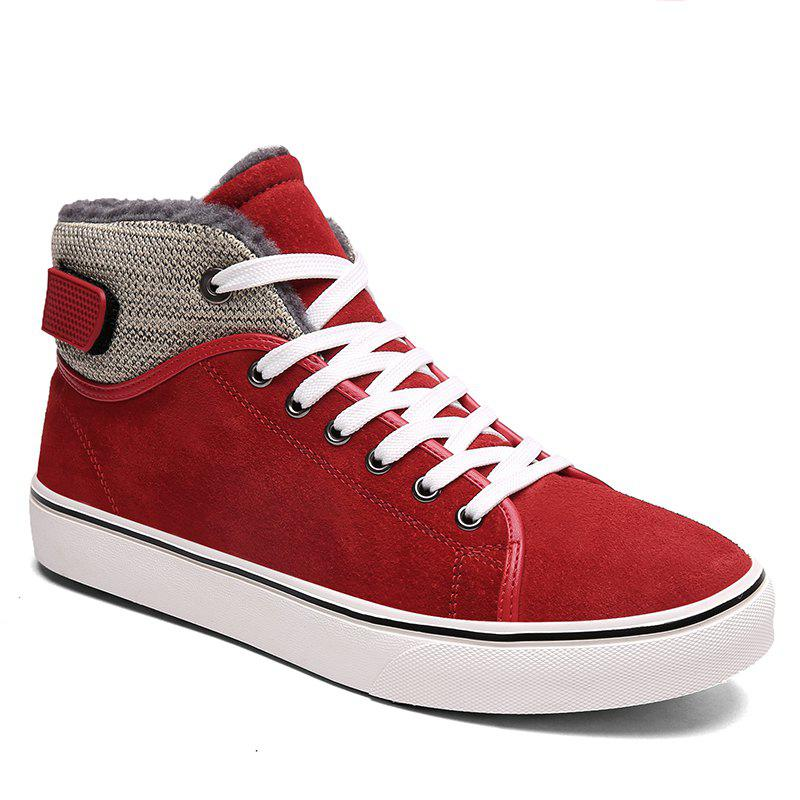 Autumn and Winter Plus Velvet High To Help Casual Men'S Shoes - RED 41