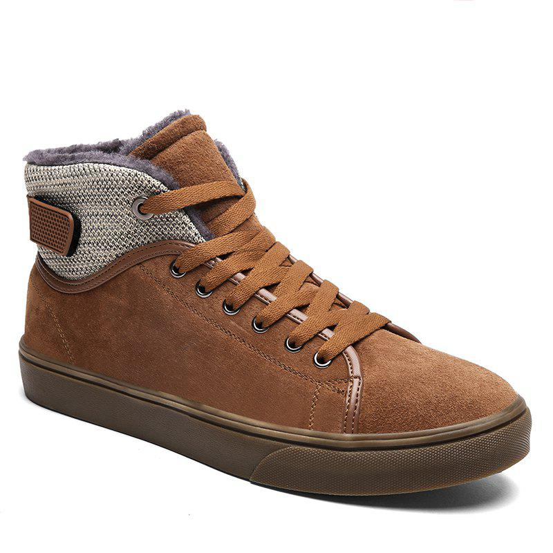 Autumn and Winter Plus Velvet High To Help Casual Men'S Shoes - BROWN 44