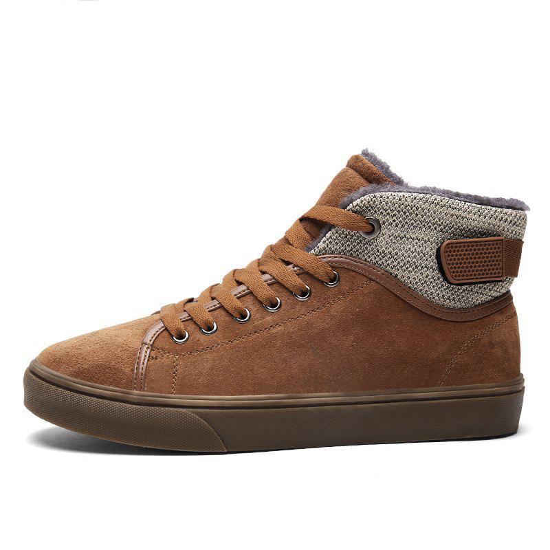 Autumn and Winter Plus Velvet High To Help Casual Men'S Shoes - BROWN 39