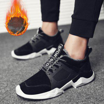 Autumn and Winter Fashion Plus Velvet Men'S Sports Shoes - BLACK 44