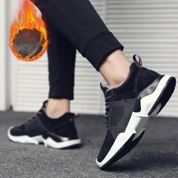 Autumn and Winter Fashion Plus Velvet Men'S Sports Shoes - BLACK BLACK