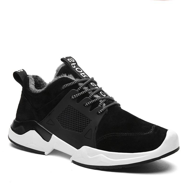 Autumn and Winter Fashion Plus Velvet Men'S Sports Shoes - BLACK 42