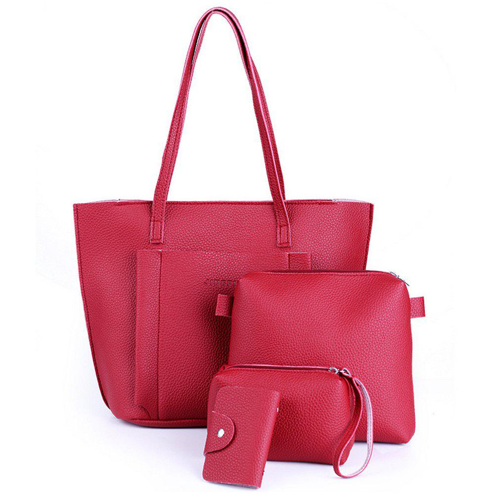 Women's Shoulder Bag Classy Faux Leather All Match Bags Set - RED