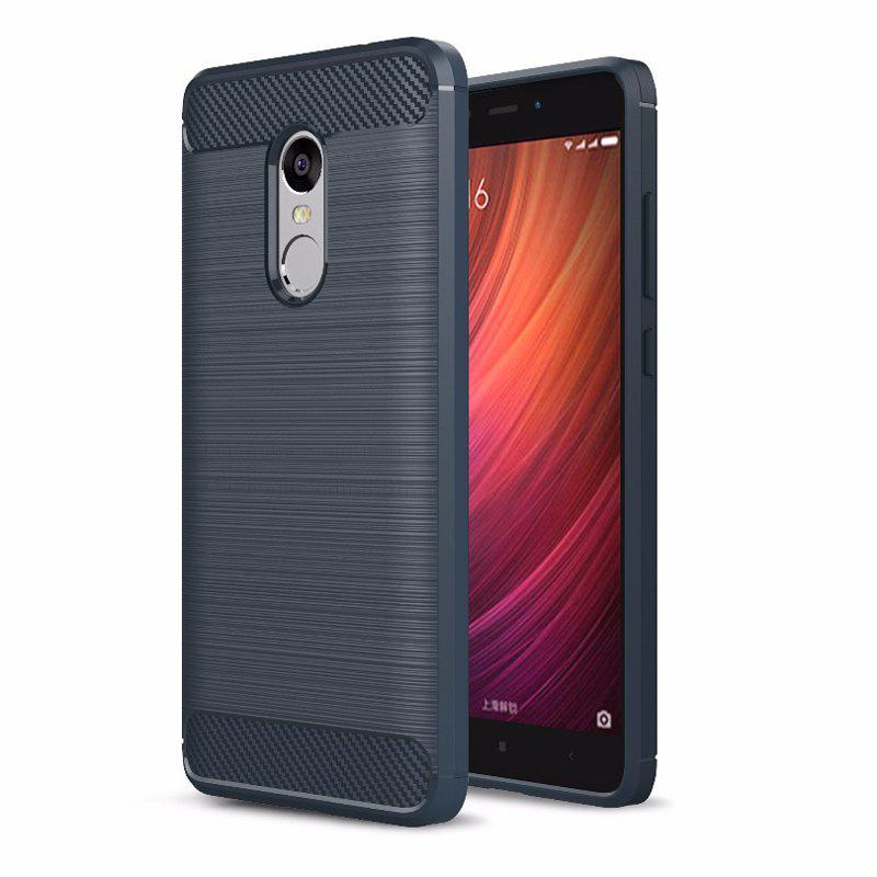 Luxury Carbon Fiber Anti Drop TPU Soft Cover Case for Xiaomi Redmi Note 4 - NAVY