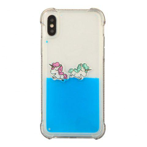 Cut Rainbow Horse Luxury Anti Knock Liquid Clear Phone Case for iPhone X - BLUE