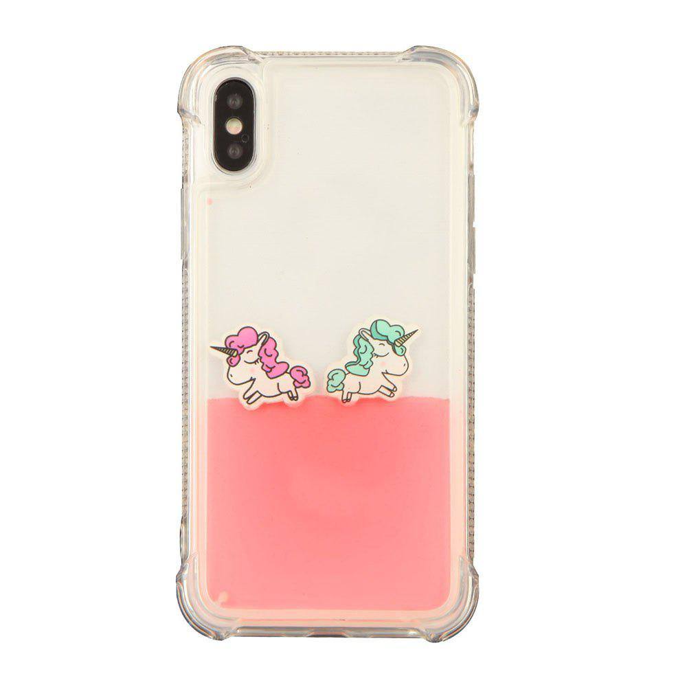 Cut Rainbow Horse Luxury Anti Knock Liquid Clear Phone Case for iPhone X - PINK