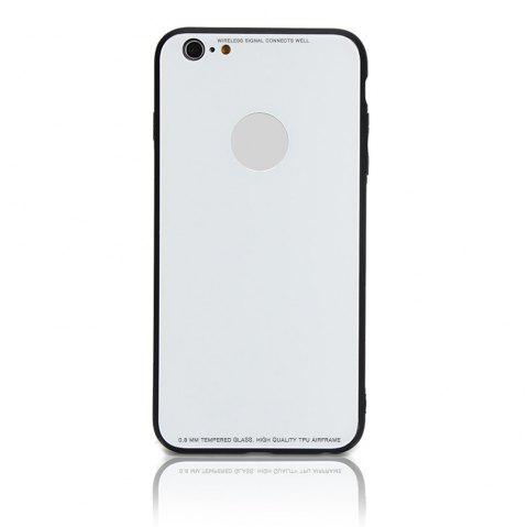 Tempered Glass Case Drop-proof Hybrid Back Case for iPhone 6/6S 4.5 inch - WHITE