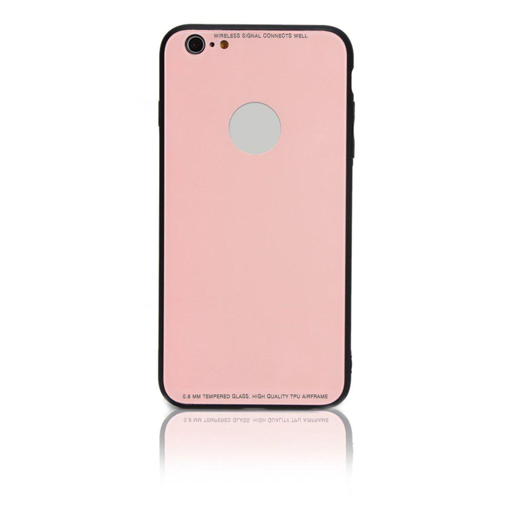 Tempered Glass Case Drop-proof Hybrid Back Case for iPhone 6/6S 4.5 inch - PINK