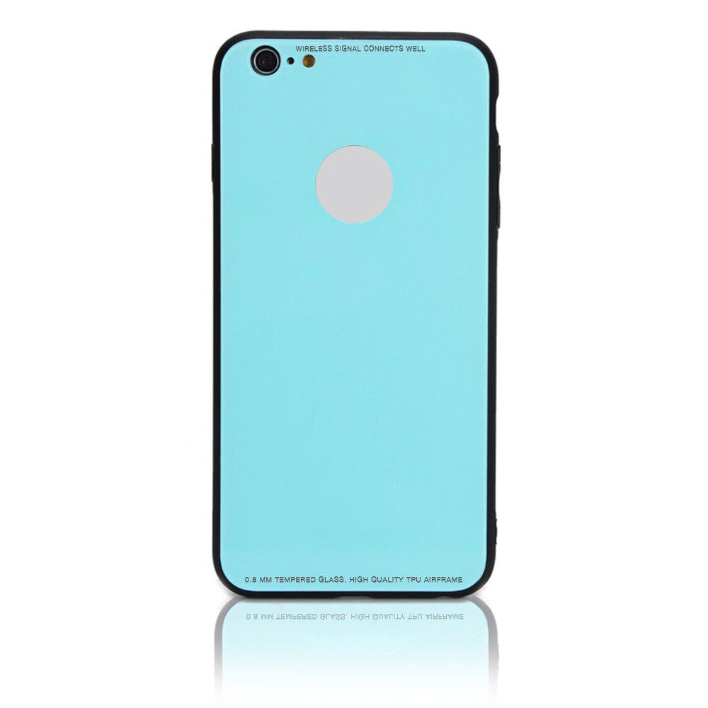Tempered Glass Case Drop-proof Hybrid Back Case for iPhone 6/6S 4.5 inch - LIGHT BLUE
