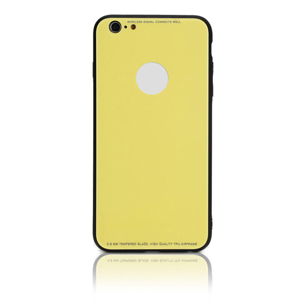 Tempered Glass Case Drop-proof Hybrid Back Case for iPhone 6/6S 4.5 inch - YELLOW