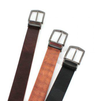 Men's Cowhide One Piece Leather Belt Snaps for Interchangeable Buckles antique buckle - BROWN BROWN