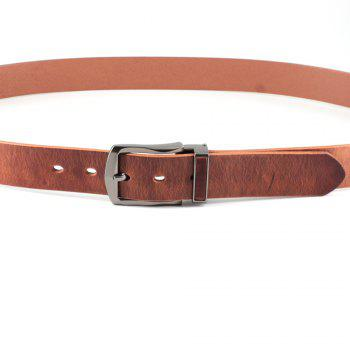 Men's Cowhide One Piece Leather Belt Snaps for Interchangeable Buckles antique buckle - TAN FREE