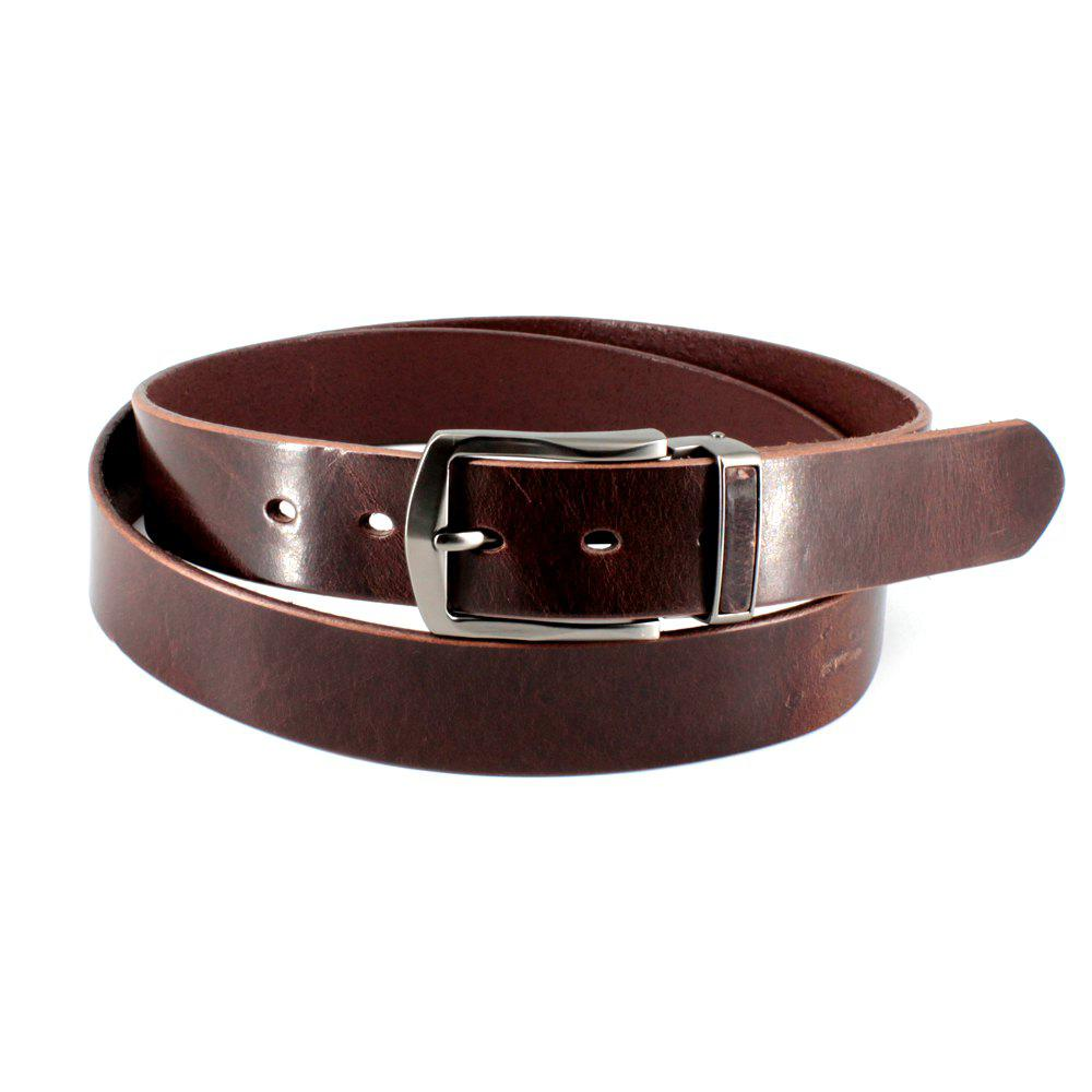 Men's Cowhide One Piece Leather Belt Snaps for Interchangeable Buckles antique buckle - BROWN FREE