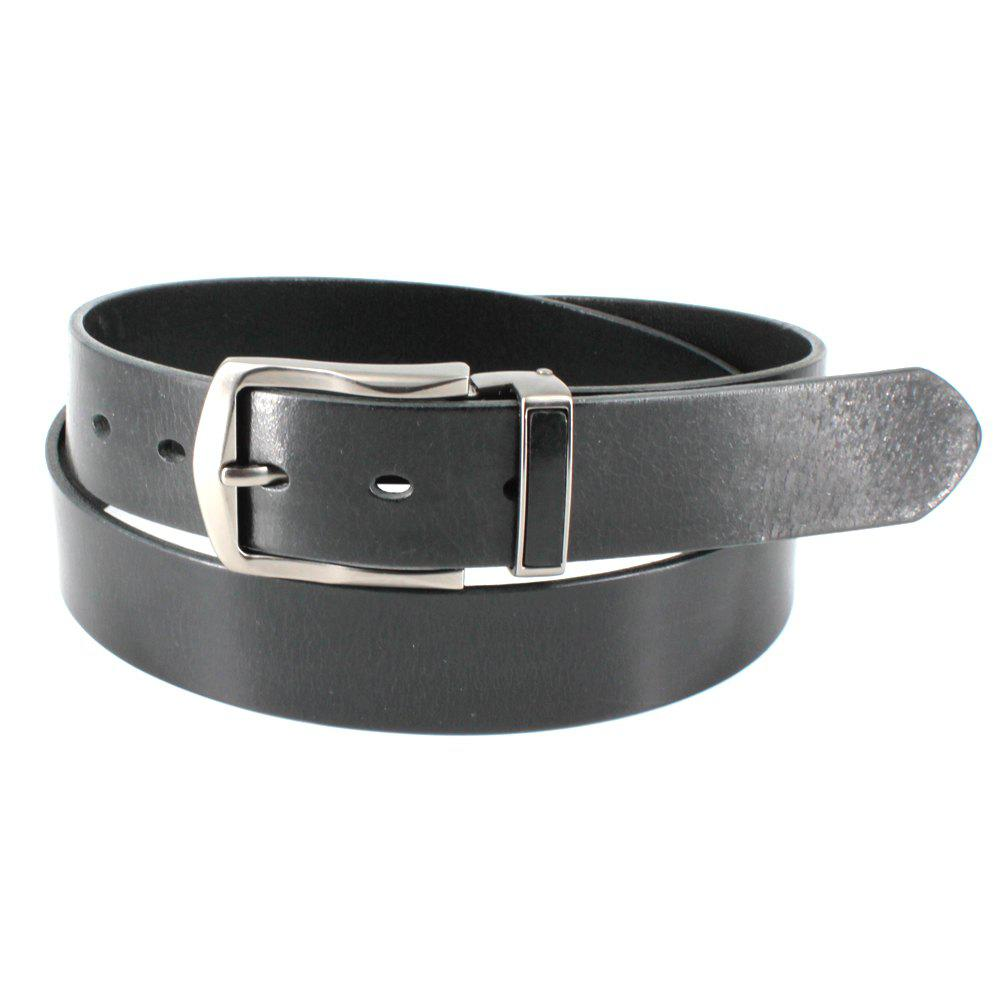 Men's Cowhide One Piece Leather Belt Snaps for Interchangeable Buckles antique buckle - BLACK FREE