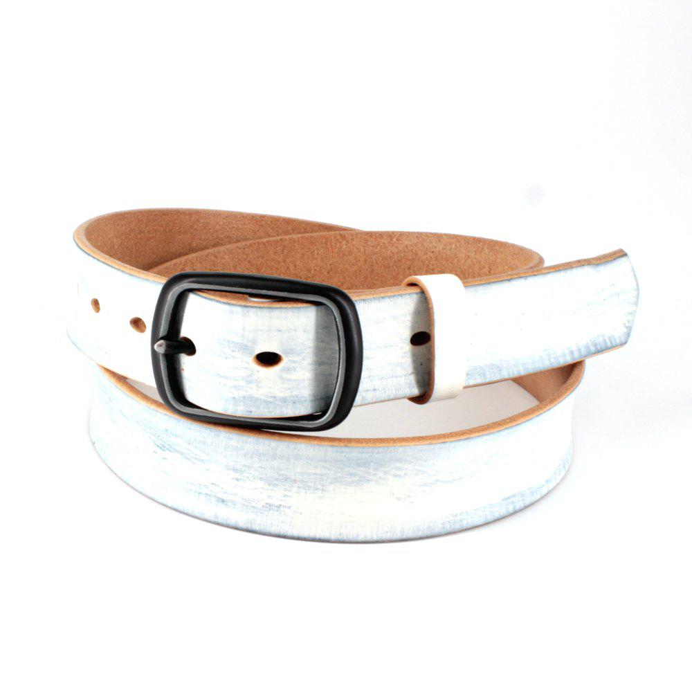 Men's Leather Belt Nickel Free Buckle - WHITE FREE