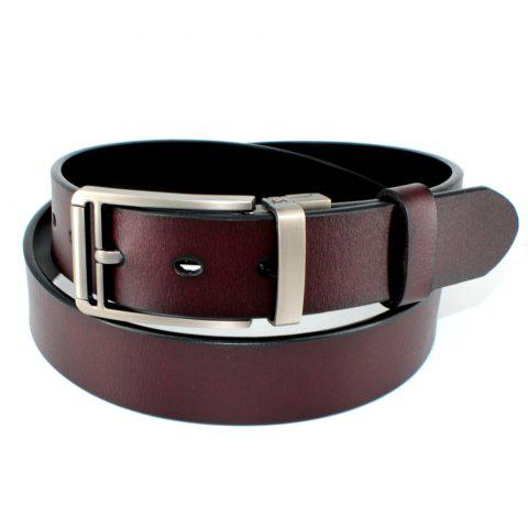 Men's Belt Leather Double-sided Rotating Buckle Black/Brown - BROWN FREE