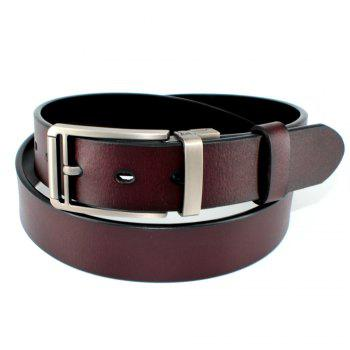 Men's Belt Leather Double-sided Rotating Buckle Black/Brown - BROWN BROWN