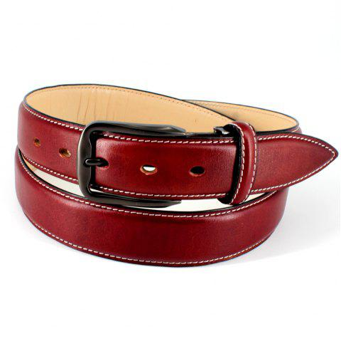 Mens Leather Belt Double Sided Full Grain Vegetable Tanned Belts - BROWN FREE