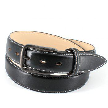 Mens Leather Belt Double Sided Full Grain Vegetable Tanned Belts - BLACK BLACK