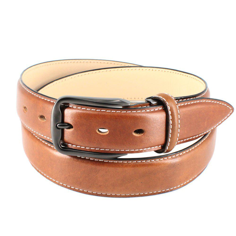 Mens Leather Belt Double Sided Full Grain Vegetable Tanned Belts - TAN FREE