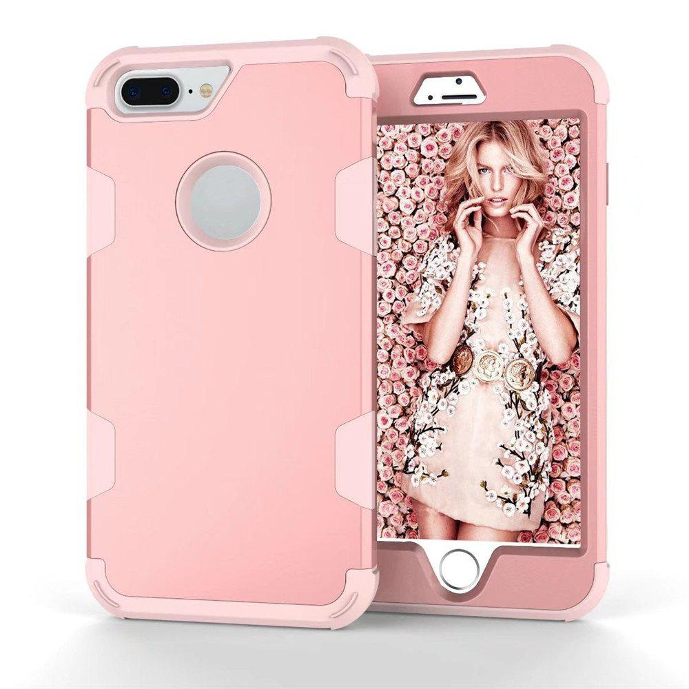 Color Silicone PC Case for iPhone 7 Plus / 8 Plus - PINK