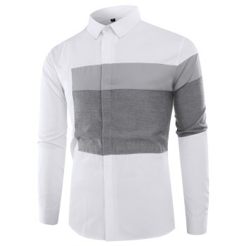 Fashion Lapel Stitching Mixed Colors Casual Men Long Sleeved Shirt Men