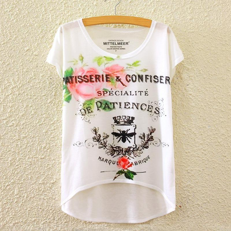 Summer New Graphic Digital Print Short T Shirt Blouse Loose Ladies White T-shirt Short Sleeve Cotton Blended Tops Outwear for Women graphic print blouse