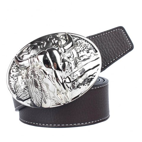 Western Cowboy Belt Leather - COFFEE LEATHER BAND