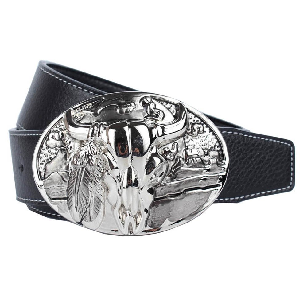Western Cowboy Belt Leather - BLACK LEATHER BAND