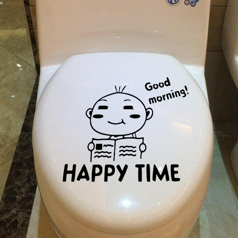 Lively Boy Reading Book Vinyl Toilet Sticker Good Morning Happy Time Quote Washroom Decals - BALCK 26 X 19 CM