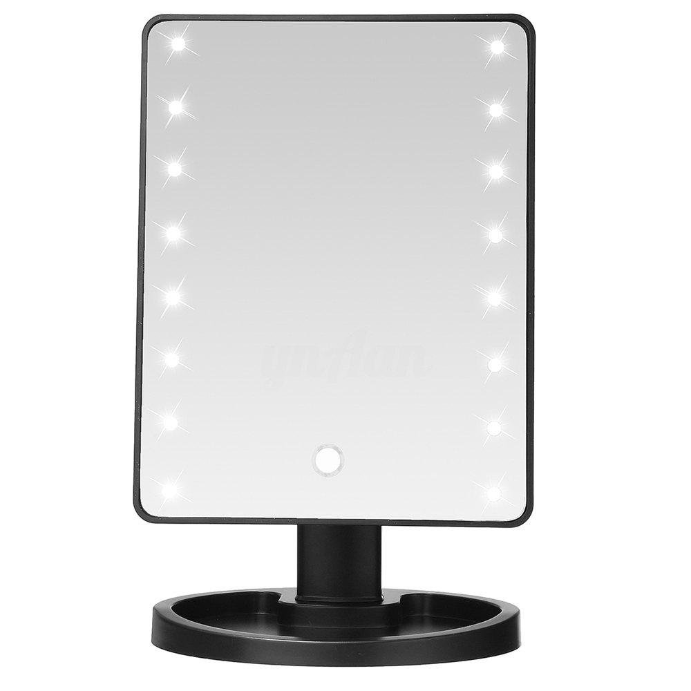 TODO Fashion 16 LED miroir de maquillage de table à écran tactile de maquillage miroir - Noir
