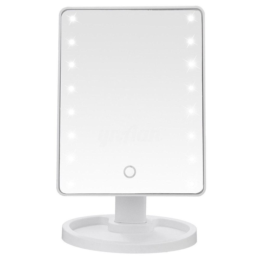 TODO Fashion 16 LED Touch Screen Makeup Tabletop Vanity Light Up Mirror 20 led light touch screen make up mirror cosmetic stand mirror 10x magnifying black white
