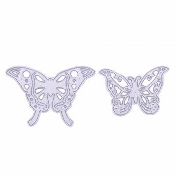 2Pcs Metal Butterfly Cutting Dies Stencils for DIY Scrapbooking Photo Album - SILVER SILVER