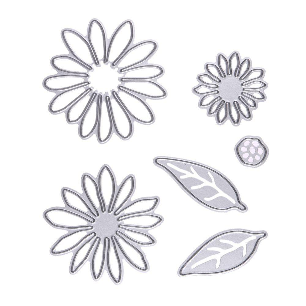6pcs Flowers Metal Cutting Dies for DIY Scrapbooking Photo Album Decorative Embossing Folde - SILVER