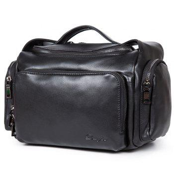 New First Layer of Leather Cross-Section Portable Shoulder Diagonal Package Men'S Fashion Bucket Bag - BLACK BLACK