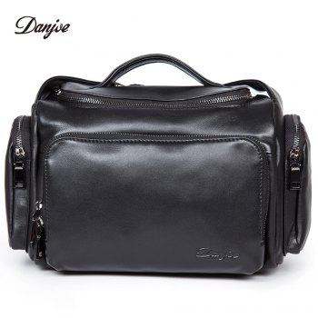 New First Layer of Leather Cross-Section Portable Shoulder Diagonal Package Men'S Fashion Bucket Bag -  BLACK