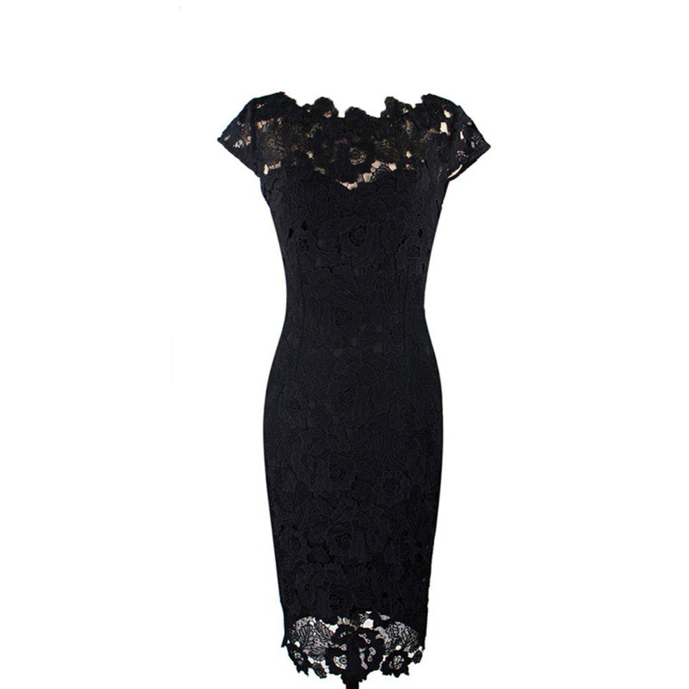 New Style Woman Summer Fashion Europe & America Elegant Sexy Lace Hollow Out Sheath Shift Pencil Dress - BLACK XL