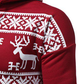 2017 New Men'S Fashion Deer Printing Casual Hooded Sweatshirt Tide Men Large Size Sweatshirt - RED 3XL