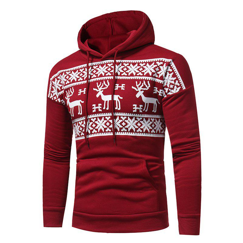 2017 New Men'S Fashion Deer Printing Casual Hooded Sweatshirt Tide Men Large Size Sweatshirt - RED L