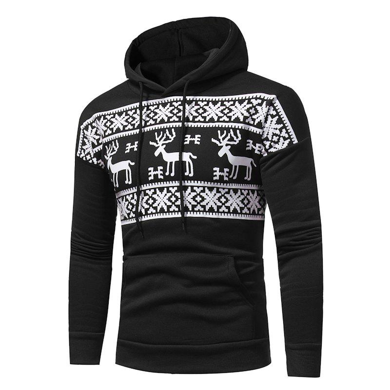 2017 New Men'S Fashion Deer Printing Casual Hooded Sweatshirt Tide Men Large Size Sweatshirt - BLACK 2XL