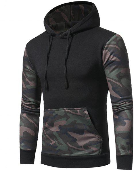 2017 New Camouflage Color Collocation Men'S Casual Hoodie - BLACK XL