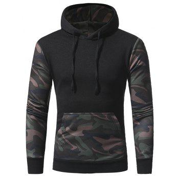 2017 New Camouflage Color Collocation Men'S Casual Hoodie - BLACK 2XL