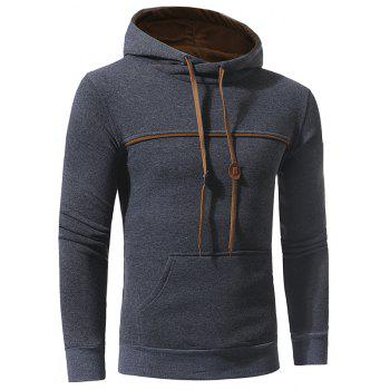 2017 Autumn and Winter New Striped Color Men'S Casual Hoodie - DEEP GRAY L