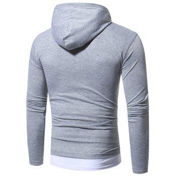 2017 Autumn and Winter New Solid Color Fake Two Double Cap Men'S Casual Slim Long-Sleeved T-Shirt - LIGHT GRAY M
