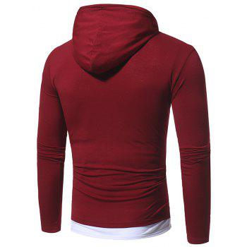 2017 Autumn and Winter New Solid Color Fake Two Double Cap Men'S Casual Slim Long-Sleeved T-Shirt - BURGUNDY XL