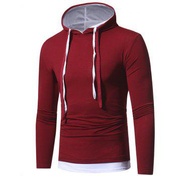 2017 Autumn and Winter New Solid Color Fake Two Double Cap Men'S Casual Slim Long-Sleeved T-Shirt - BURGUNDY 2XL